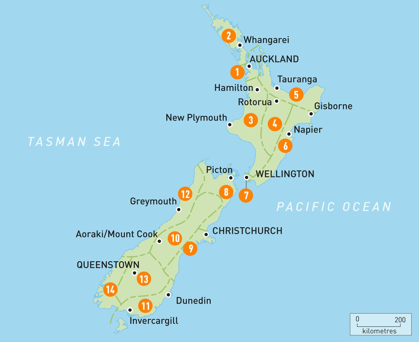 New Zealand Provinser Kort Kort Over New Zealand Provinser