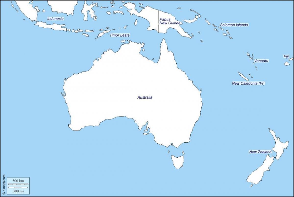 New Zealand Kort Oversigt Oversigt Kort Over Australien Og New