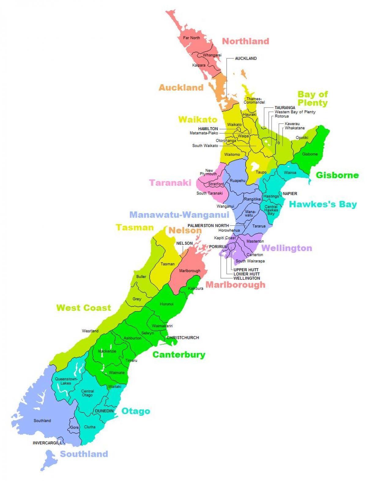 New Zealand Regioner Kort New Zealand Distrikt Kort Australien