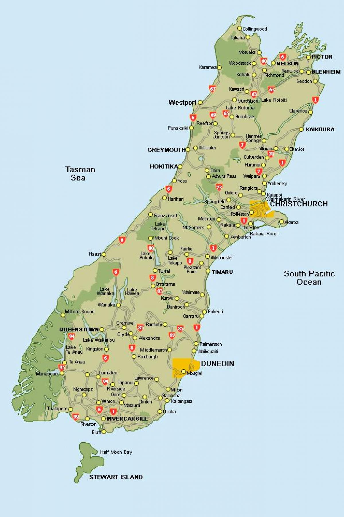 New Zealand South Island Road Map New Zealand Kort South Island