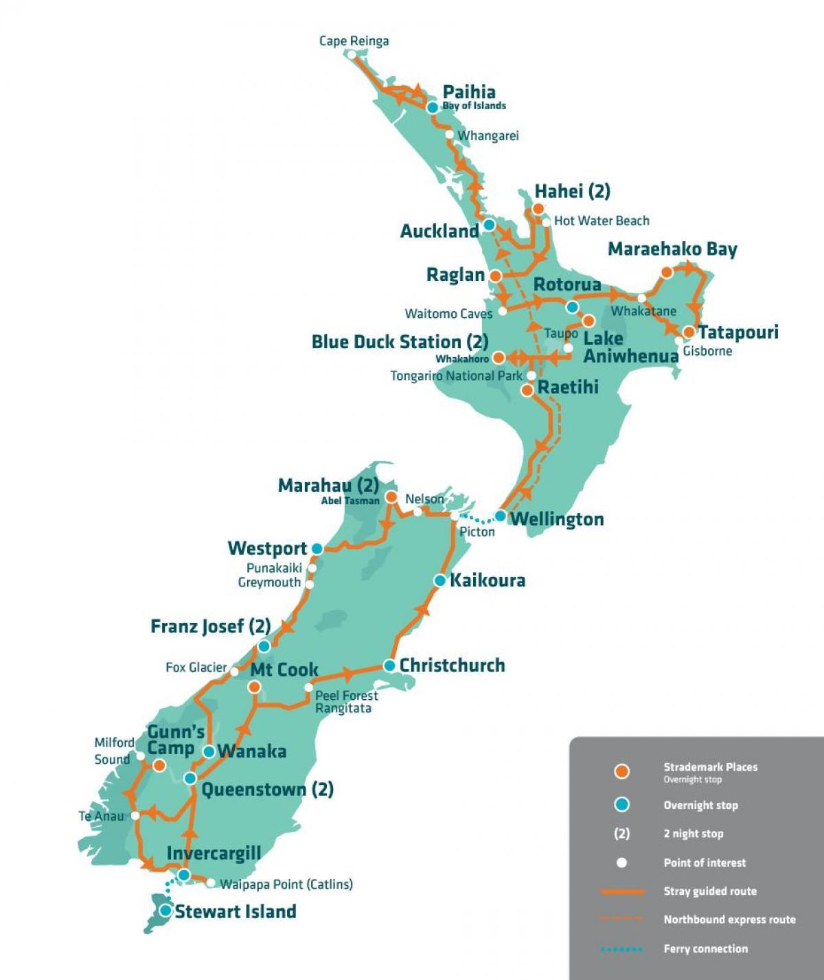 New Zealand Turist Kort New Zealand Turistattraktioner Kort